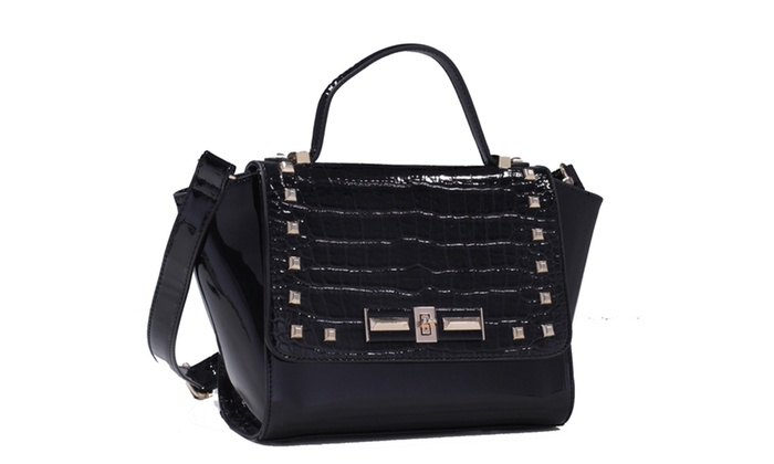 MyLux Patent Faux Croco Embossed Leather Studded Satchel