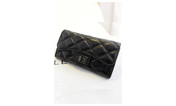 Women Clutch Quilted PU Leather Handbag – KMWW1018 – Black