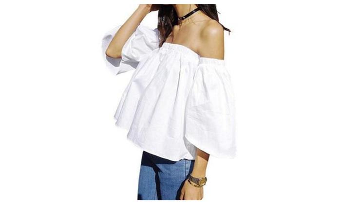 Women's Off Shoulder Ruffle Cotton Crop Top Blouse Shirt