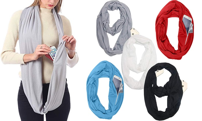Convertible Journey Infinity Scarf With Pocket Multi-use Scarf With Pocket Au