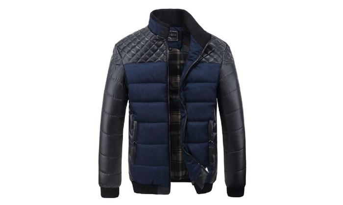 Designer Coat For Men   Pu Patchwork Designer Jackets Men Outerwear Winter Fashion Groupon
