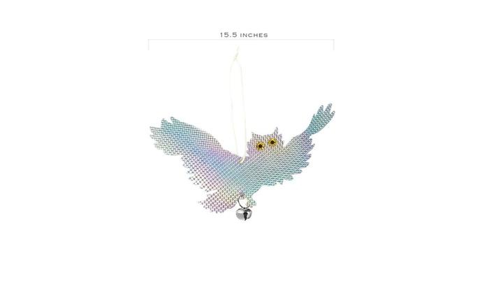 Juvale 2-Pack Hanging Owls Reflective Bird Deterrent Bird