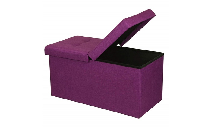 Swell Otto Ben 30 Storage Ottoman Folding Toy Box Chest With Smart Lift Top Purple Squirreltailoven Fun Painted Chair Ideas Images Squirreltailovenorg