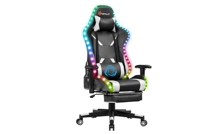 Goplus Gaming Racing Chair w/ LED &Massage Lumbar Support