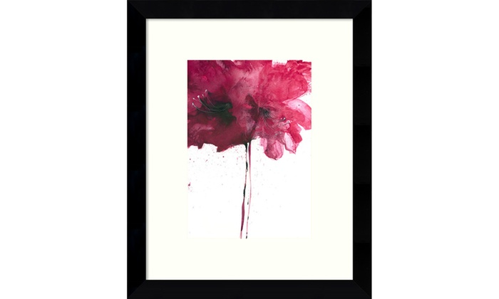 Framed Art Print \'Red Floral I\' by Art Marketing: Outer Size 9 x 11 ...