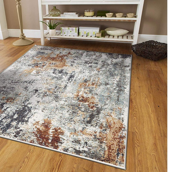 Mondern Gray Abstract Area Rugs Living Room Red Rug 8x10 Hallway Runner Rugs