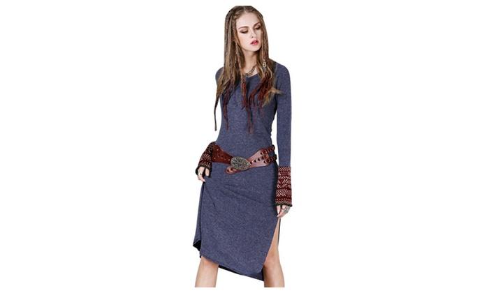 03edcbcd1b Women s Long Sleeve Crew Neck Slim Knit Sweater Midi Dress