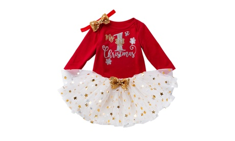 Toddler Baby Kids Girls Christmas Day Romper Tops Tutu Dress Hairband Set