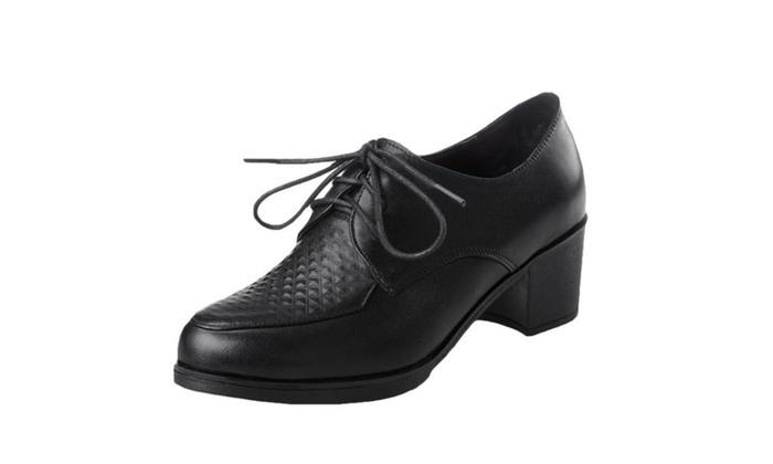 Women's Leather Casual Kitten Heels Shoes