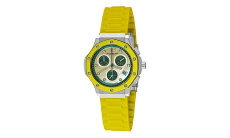 Stuhrling Original Women's Quartz Chronograph Genuine Leather Strap Watch 05381640-0384-40d7-8f6d-bc321da54708