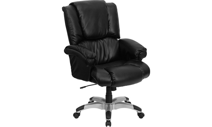 high back black leather overstuffed executive office chair go 958
