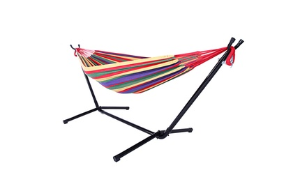 2 person Strip Cotton Swing Garden Portable Hammock Chair w/Stand 3 Color Was: $110.00 Now: $49.99