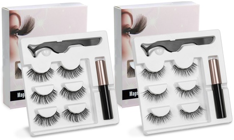 Ultimate Long Lasting Magnetic Eyelash and Eyeliner Kit - 3 - 10 Pairs of Lashes