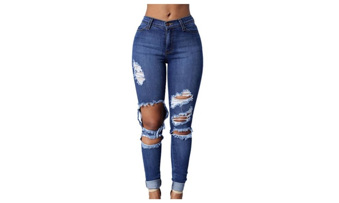 Women's New Arrival Slim Fit Long Textured Simple Jeans