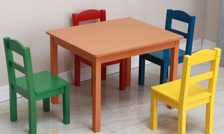 5 Piece Play Room Furniture Wood Kids Table and 4 Chairs Set Multi Colors