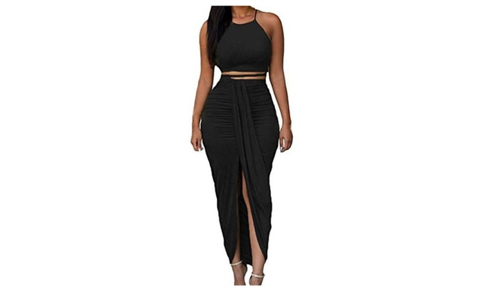 Womens Sexy Cotton Sleeveless Slit Two Piece Maxi Skirt Set