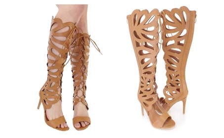 Leather Lace Up & Cut Out Gladiator High Heel Sandals - 8 7c8251ce-232e-47ea-af4d-066047b8928f