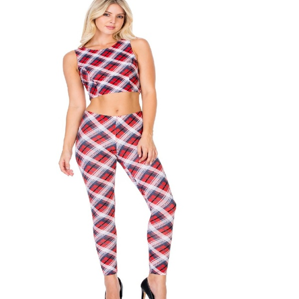 5bb610f28bc Up To 11% Off on Plaid Crop Top & Leggings Set | Groupon Goods