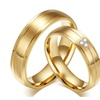 Gold-Color 2pcs/lots 316l Stainless Steel Couple Ring