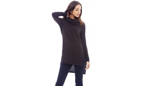 AX Paris Ribbed Polo Neck Chocolate Sweater f2870105-7258-42d7-bdea-8e7e00f9a7d7