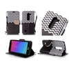 Insten Book-style Leather Fabric Case For Lg Leon/power Black/white