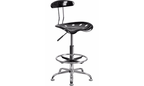 Flash Furniture Home Office Vibrant and Chrome Drafting Stool with Tractor Seat ca83eb2a-bb46-4200-8009-1681e228ceac
