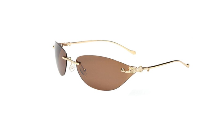 Women Leopard Rimless Sunglasses