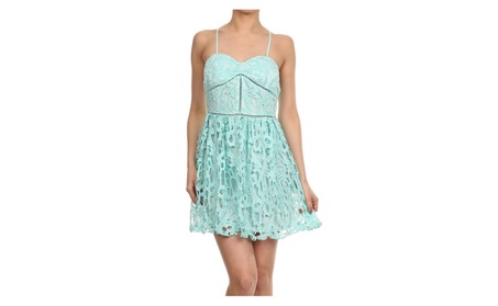 Womens Mint Crochet Lace Sweetheart Cocktail A-Line Mini Dress cc2c4b78-5875-4ae2-868a-e6c35424fc4f