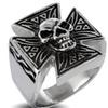 Stainless Steel Men's Iron Cross with Skull Ring