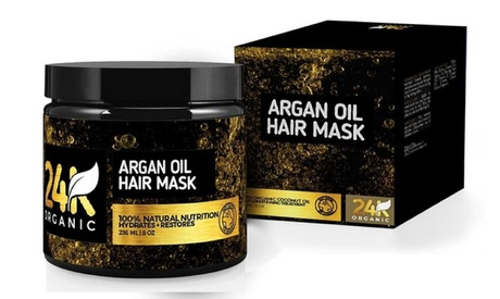 24K Natural and Organic Argan Oil Hair Mask (8 Oz)