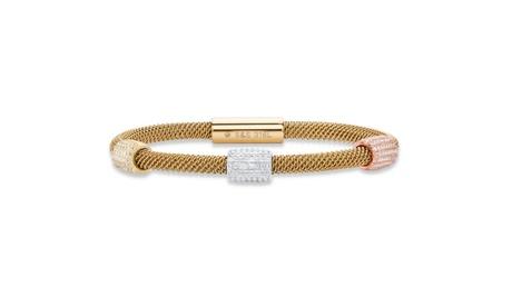 "Crystal Tri-Tone Stainless Steel Cable Bracelet 8"" 50c9b07e-17a9-4868-a8e6-b3e804b93a48"