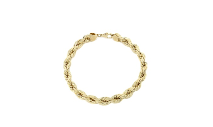 10k Solid Yellow Gold Rope Bracelet 5 0mm