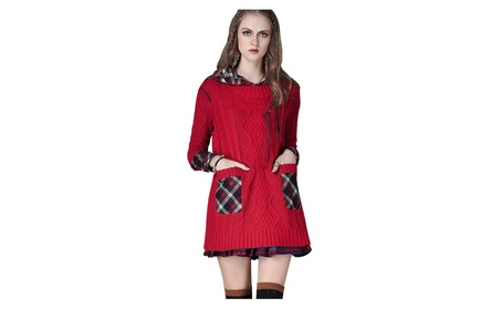 Women Hoodie Knit Long Sleeve Cardigan Sweaters Outerwear With Pocket - Red / 0ne Size cb9d92d3-cc0c-4bb8-a15a-f2f29a96d22d