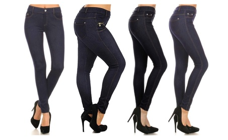 Women's Super Stretch Jean Leggings (Jeggings) in Black and Blue