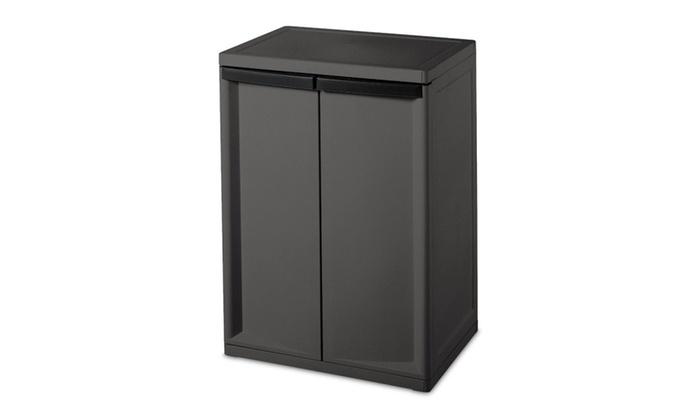 Sterilite 2 Shelf Laundry Garage Utility Storage Cabinet, 01403V01