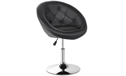 1PC Adjustable Modern Swivel Round Accent Chair PU Leather Black