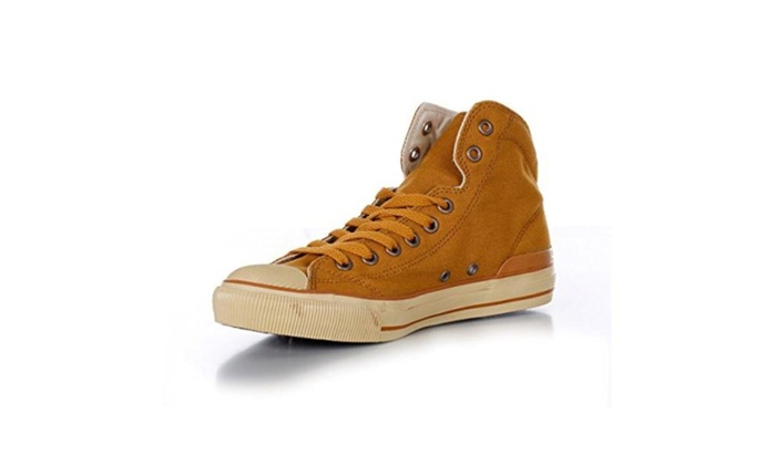 Men's Casual Classic Cowboy Lace Up Sneaker High-top Canvas Shoes - Yellow / 9 B(M) US