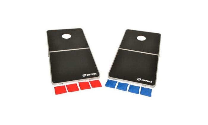 Optima CornHole Bean Bag Toss Game Set, Portable Foldable Alum Frame