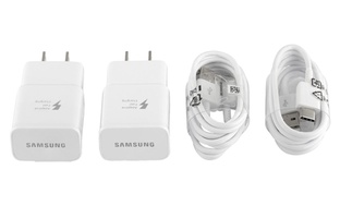 2-Pack Samsung Fast Adaptive Charger with 2 Micro USB OR Type C Cables