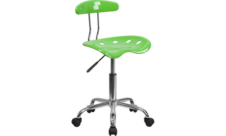 Flash Furniture Vibrant and Chrome Computer Task Chair with Tractor Seat cb112cb8-1556-4469-b80a-8356e1dea0d9
