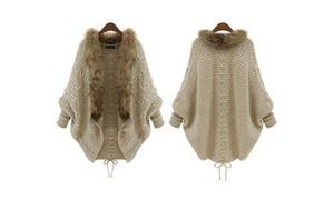 Bat Sleeve Fur Collar Sweater
