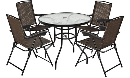 5PCS Bistro Patio Furniture Set 4 Folding Adjustable Chairs Glass Table W/Hole