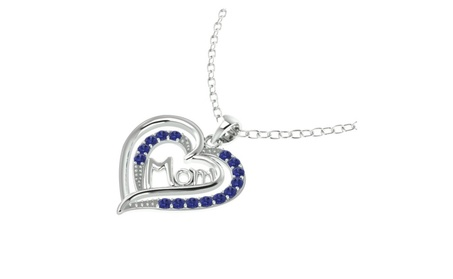Sterling Silver Sapphire 'Mom' Heart Shape Pendant, Chain Necklace aaa157b9-7ded-4ec1-a779-36dae84d37bf