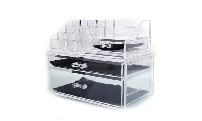 Plastic Cosmetics Storage Rack with Drawers Transparent ...  sc 1 st  Groupon & Plastic Cosmetics Storage Rack with Drawers Transparent | Groupon