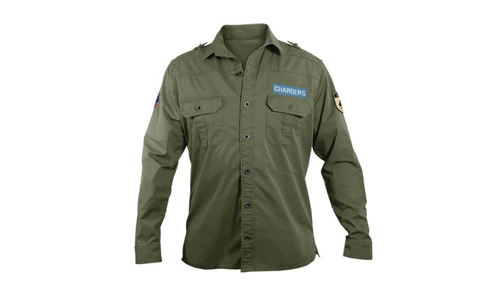info for 5d691 23f47 Little Earth 300647-CHRG-XL NFL Mens Military Shirt XtraLarge-San Diego  Chargers