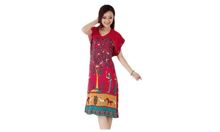 Women Tree Cotton Soft Pajamas Nightgown Sleepwear House Dresses - Tree Rose / Free