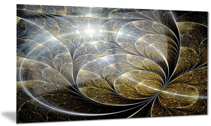 Symmetrical Gold Fractal Flower Floral Metal Wall Art 28x12 | Groupon