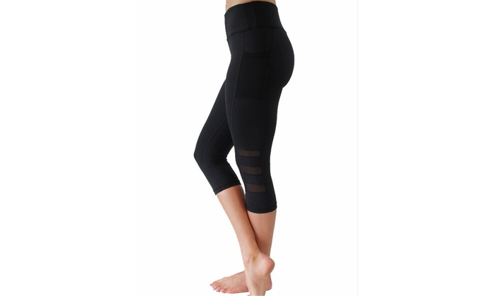 db877fc941afc Women's Yoga Pants Tummy Control Workout Running 4 Way Stretch Yoga  Leggings S Black