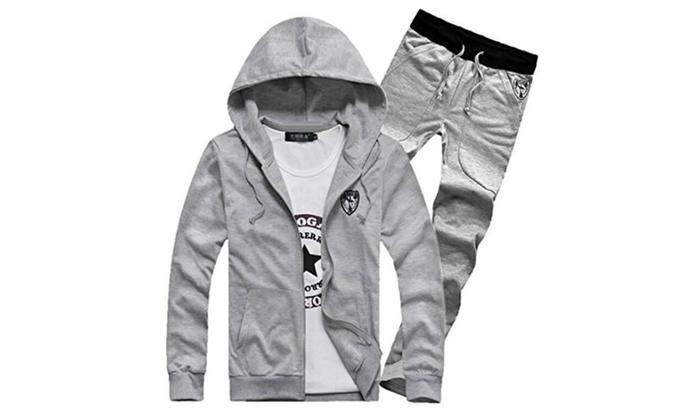 TM men's Autumn Casual sports Long Sleeves Hoodie Sweatshirt+Pants Suit Gray - Gray / XX-Large