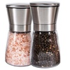 Brushed Stainless Steel Salt & Pepper Mill with Glass Bottle